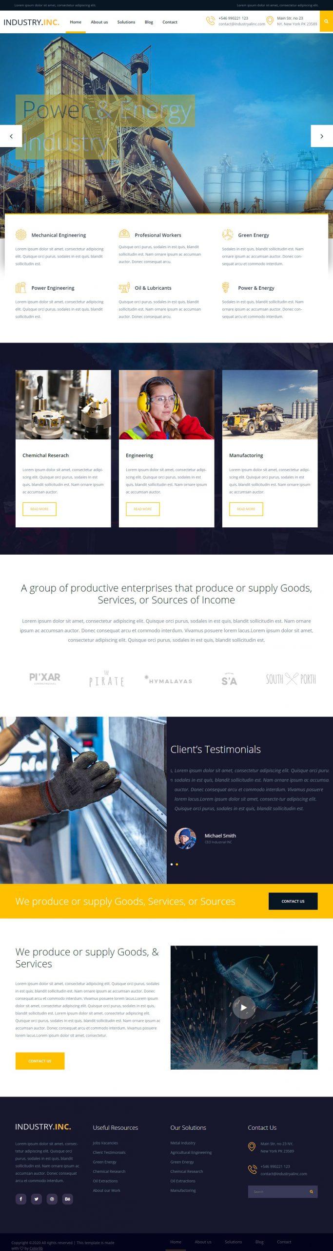 Mẫu website công ty Industry.Inc