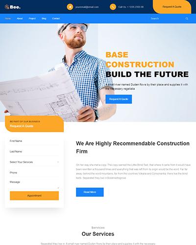 Mẫu website Công ty xây dựng Bee