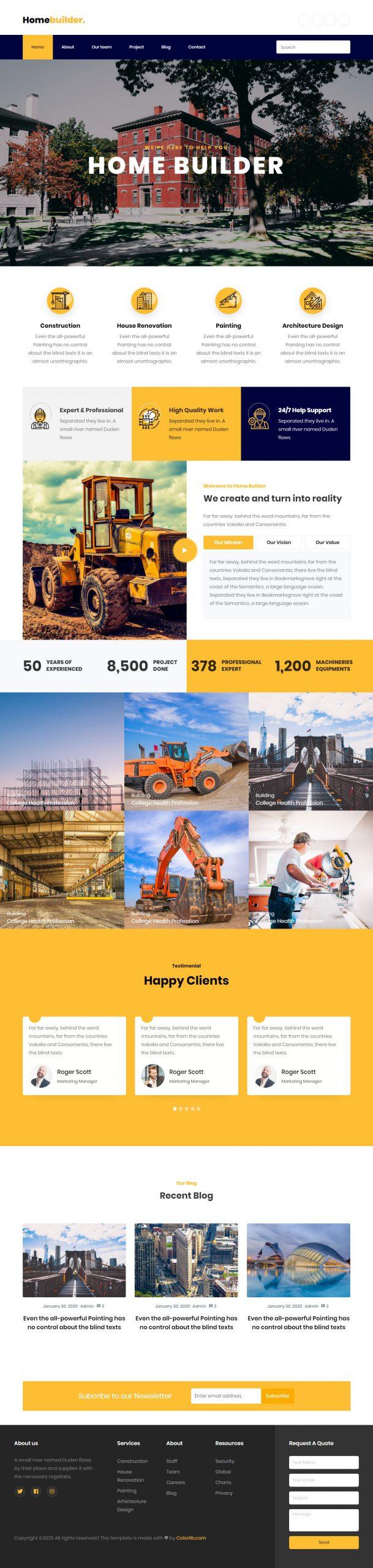 Mẫu website Công ty xây dựng Home Builder