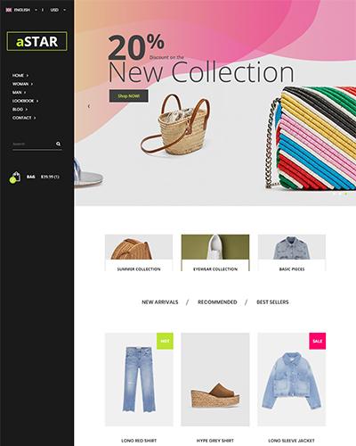 Mẫu website bán hàng thời trang aStar