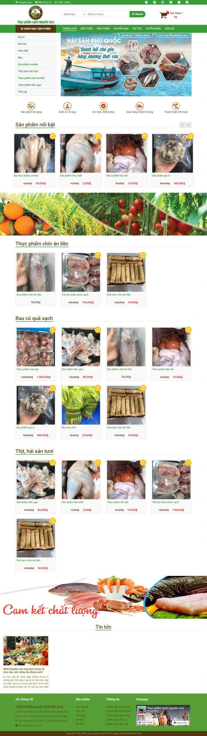 Mẫu website bán hàng thực phẩm sạch Nguyên Xưa